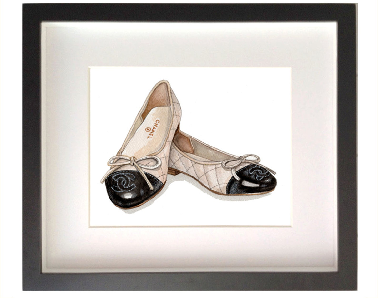 artwork / art print of chanel ballet flats, iconic pair of chanel designer shoe print (not real shoes)