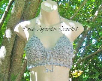 bca51a1614 Sparkly Grey Crochet Halter Top or Bralette