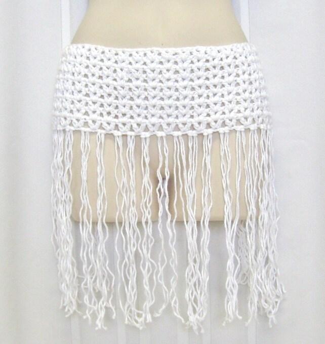 White Crochet Hip Scarf White Tube Top Fringed Skirt Etsy