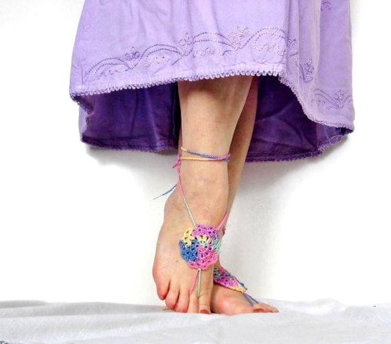 Hippie Footwear Earthing Footwear Festival Footwear Mandala Rainbow Crochet Barefoot Sandals Yoga Footwear Boho Sandals