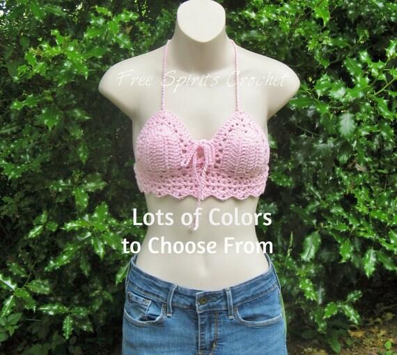 c2b6936938 Pink Crochet Festival Halter Top Crochet Bralette for Raves