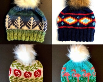 Love Where You're From Knit Hats with Faux Fur Pom Poms, Hand Knit Winter Hats in Patterns that Remind You of Home