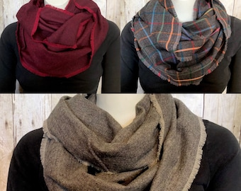 Menswear Plaid Fringed Flannel Infinity Scarf, Herringbone Plaid Scarves, Plaid Circle Scarves