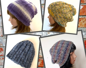 Ribbed Knit Slouchy Beanies, Soft knit Hat for Indoor or Outdoor Wear, Mens Slouchy Hat, Unisex Beanie, Womens Casual Knit Hat
