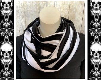 Fashion Infinity Scarves, Lightweight Polyester Knit Circle Scarves, Black and White Stripe Scarf, Goth Style, Victorian Stripe
