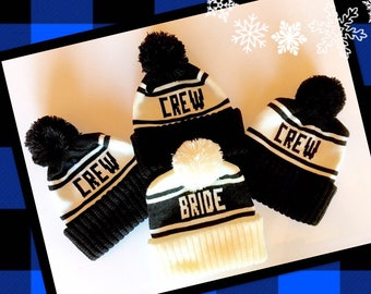 Bride and Crew Beanie Set, Pom Pom Hats for Bachelorette Parties, Bridesmaid Gifts, Winter Wedding Photo Props, Hen Parties, Ski Weekends