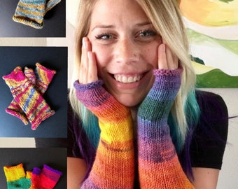 Bright Multicolored Long Fingerless Armwarmers, Hand Knit Fingerless Gloves, Long Fingerless Mitts, Rainbow Accessories, Long Hand Warmers