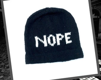 Nope Beanie, Black Slouchy Casual Knit Hat, Soft knit Hat for Indoor or Outdoor Wear, Mens or Women's Slouchy Hat, Unisex Beanie,