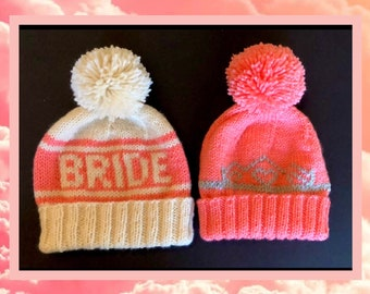 Bride and Her Court Beanie Set, Hand Knit Hats for Bachelorette Parties, Bridesmaid Gifts, Pom Pom Beanies for Winter Wedding Photo Props
