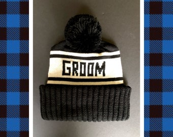 Groom Beanie, Retro Ski Hat for Photo Props, Snowboard Beanie for Winter Wedding, Ski Hat for Bachelor Parties, Retro Styled Sports Hat