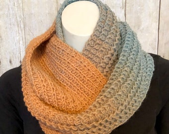 Hand Knit Infinity Scarf in Color Fade, Winter Scarf in Ombre Shades