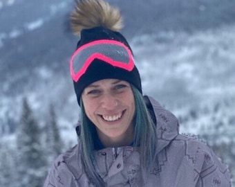 Snowboard Beanie with Ski Goggle Design, Choice of Regular Pom, Faux Fur Pom, or No Pom, Winter Beanie with Pikeys Original Goggle Design