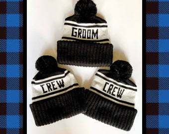 Groom and Crew Beanie Set, Pom Pom Hats for Bachelor Parties, Groomsmen  Gifts, Winter Wedding Photo Props, Ski Weekends