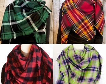 Plaid Blanket Scarf in Several Styles, Soft Cotton Flannel Wrap, Fringed Oversized Scarf, Plaid Wrap, Boho Scarf, Lumberjack Style