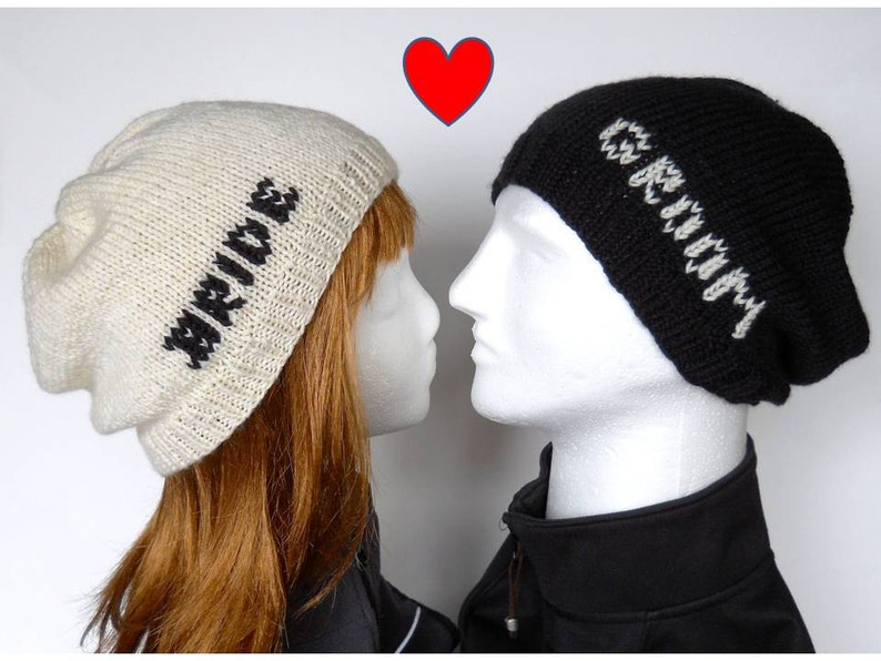 538a884afe2 Bride and Groom Beanie Set Slouchy Beanies for Wedding Photos