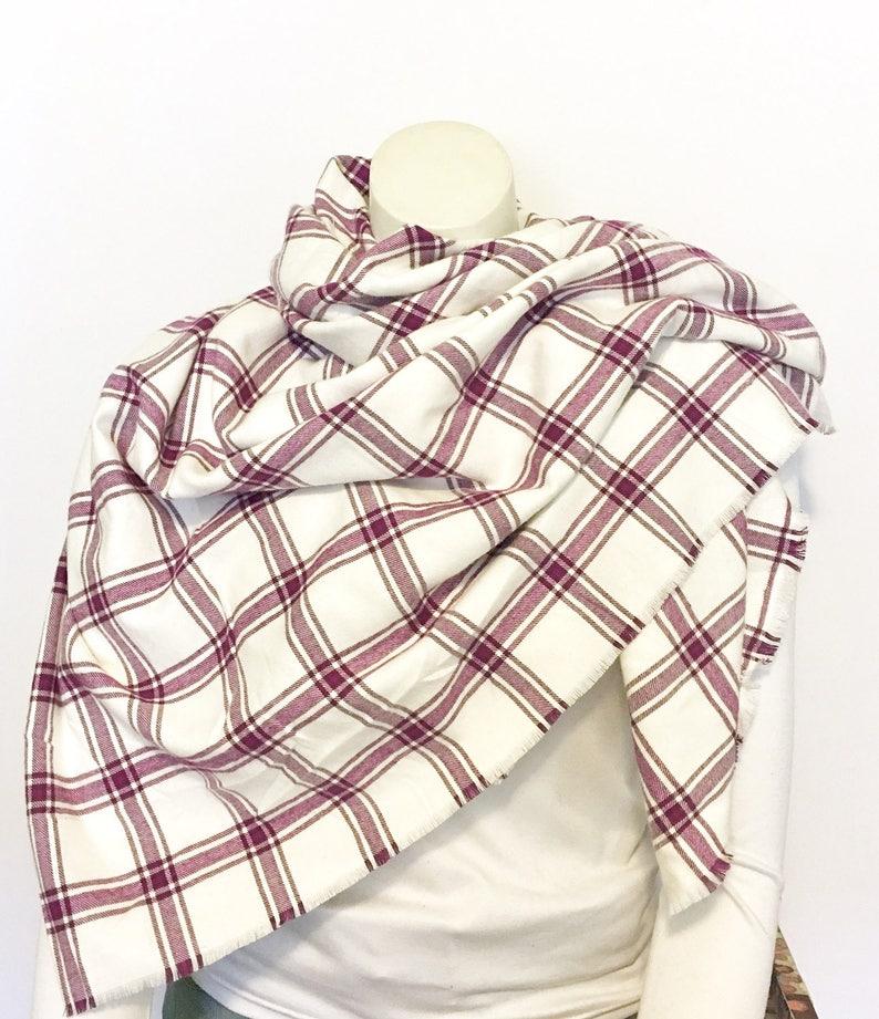 da8b0513a19 Purple and Cream Plaid Blanket Scarf, Soft Cotton Flannel Wrap, Fringed  Oversized Scarf, White and Purple Plaid Tartan Wrap
