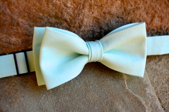 Made In The USA Toddler Boy 4T 5T Seafoam Green Clip On Cotton Bow Tie