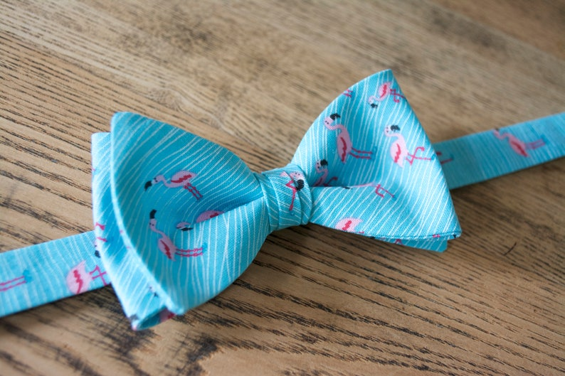 65d7972e6c8b Pink flamingo bow tie/aqua blue and pink flamingo/beach | Etsy