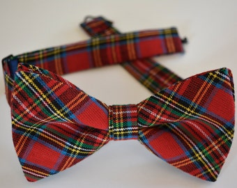 bow tie for men,Mens bow tie red tartan plaid, red tartan bow tie, red plaid bow tie for men