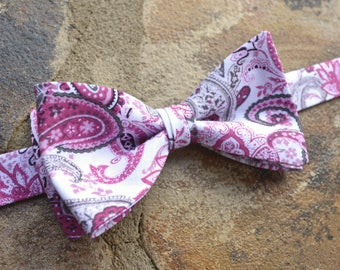 Bow Tie floral pink/paisley/cotton/weddings/mens bow ties