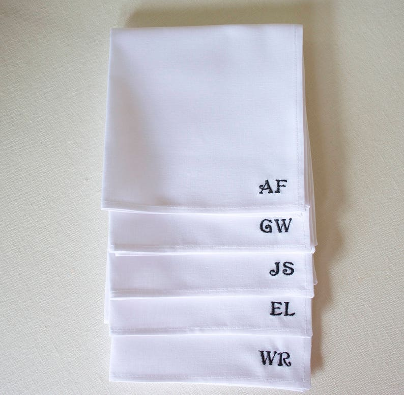 personalized pocket squarewhite cotton pocket squaregrooms image 0