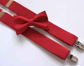 Bow ties and suspenders set red,Red boys suspenders and bow tie set, boys bow tie and suspenders, suspenders and bow tie