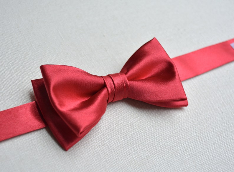 7819478affaf Red bow ties for boys/satin red/silk/formal bow ties for | Etsy