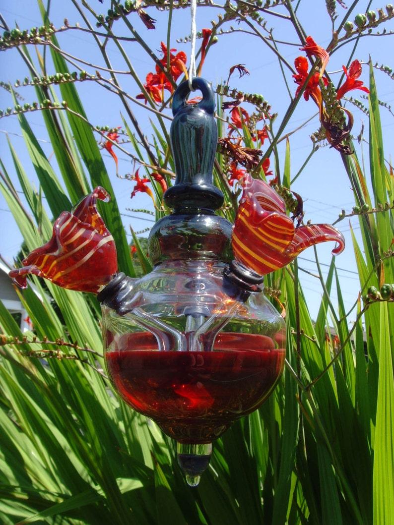 Hummingbird Feeder Hand Blown Glass 3 Feeding Spouts