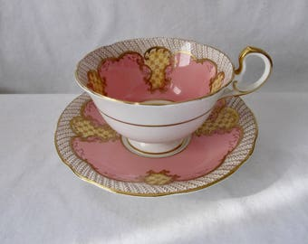 Antique Aynsley Cup and Saucer in Pink and Gold - Exquisite!
