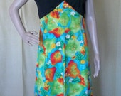 RETRO 1970s Bold BRIGHT Print Maxi Dress Hand Made CUTE Large Size