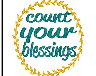 count your blessings embroidery design blessing embroidery design