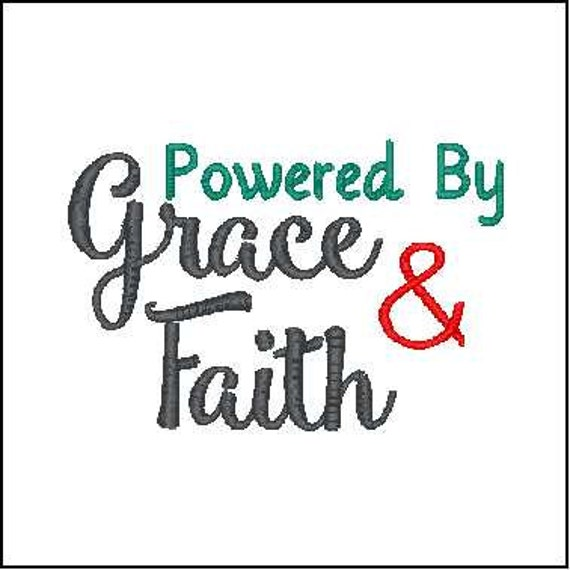 Powered by grace and faith embroidery design bible verse embroidery faith  embroidery design Bible verse faith embroidery design