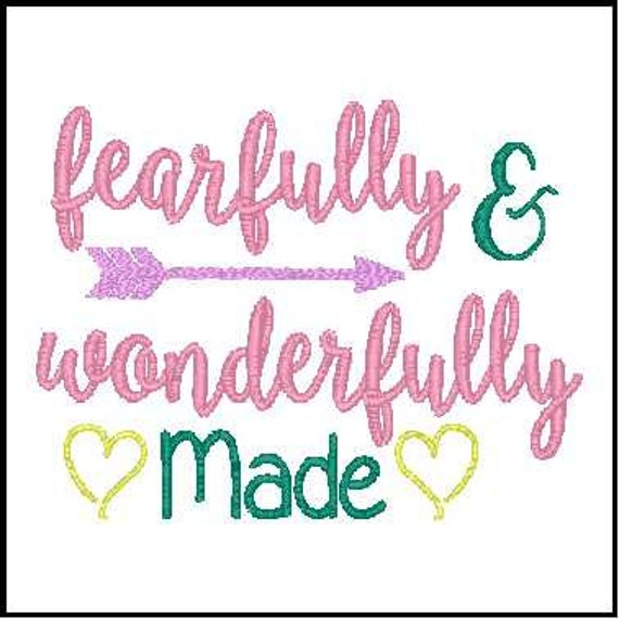 Fearfully And Wonderfully Made Girl Embroidery Design Baby Etsy