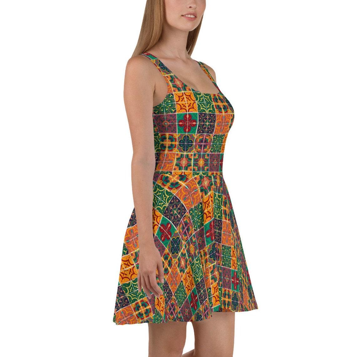 Pottery Shop Skater Dress in Spice