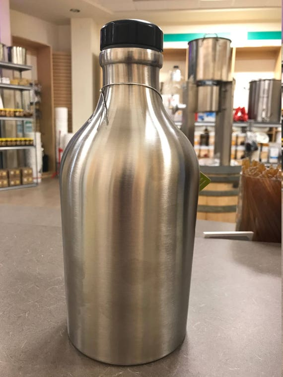 100% Stainless Steel Beer Growler  - Custom Made TRUE water tight and easy to clean and use - Perfect for Brewery 64 oz