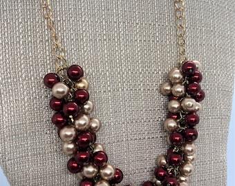 Maroon Gold Necklace Red Bead Necklace Burgundy Necklace Statement Necklace FSU Necklace Maroon Necklace Bridesmaid Necklace
