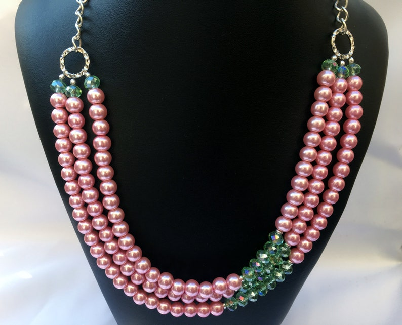 Pink Green Beaded Necklace Sharen Pink Green Necklace Pink pearl necklace Pearl Necklace Pink necklace Layered Necklace