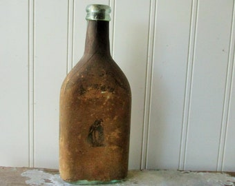 Antique Ayers bottle hair tonic circa 1867. Shabby as is paper label aqua green vintage bottle