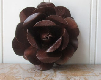TWO 2 1/2 inch metal rose , large rusty tin flower , crown flowers , rustic decor craft embellishment