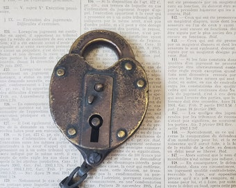 Vintage Antique brass Slaymaker padlock , large metal lock , LOCKED NO KEY No cover N12