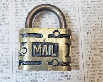 Vintage Mail RFD brass padlock , antique metal lock , Locked NO KEY N15