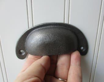 "Cast iron drawer bin pull dark pewter grey gray finish 4.25"" inch screw on  deli handle Industrial rustic farmhouse hardware"