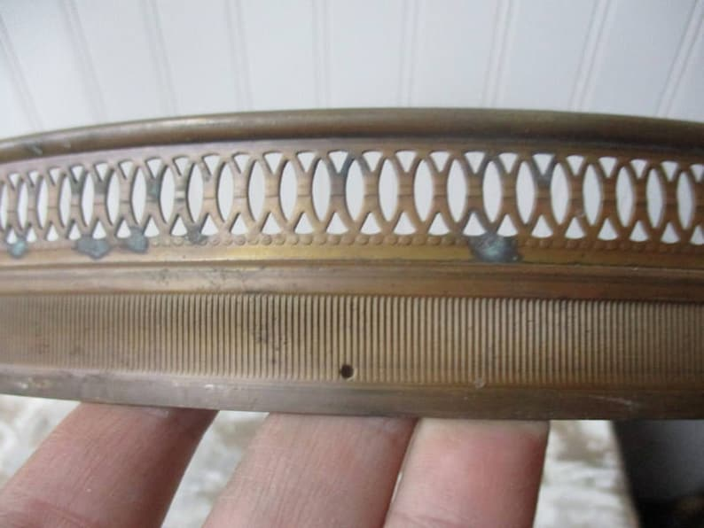 ONE vintage brass lamp ring gallery ring holes for prisms 14 diameter SHABBY patina lighting supply upcycle
