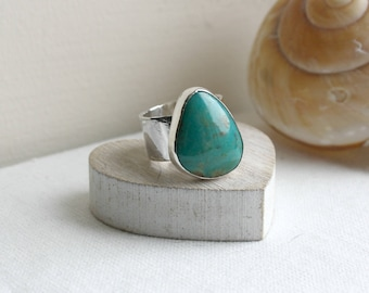 Turquoise Silver Ring, Statement Ring, Cocktail Ring