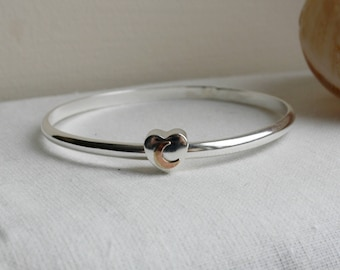 Sterling Silver Bangle with Heart Moon Charm, Chunky Bangle