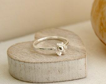 Sterling Silver Flower Stacking Ring, Flower Ring, Stacking Ring