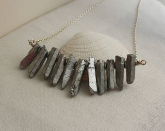 Sterling Silver and Chunky Silver Quartz Points Necklace