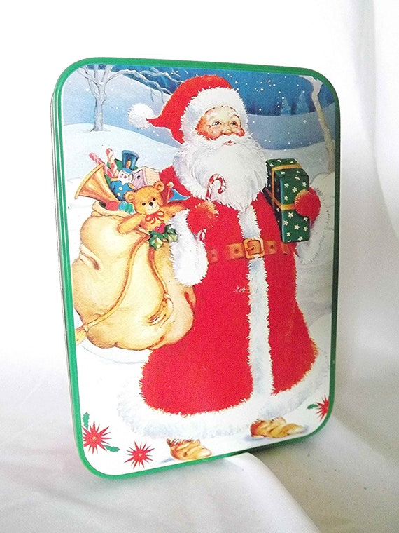Christmas Tin Cookies.Christmas Tin Santa Claus Cookie Tin Cookie Container Christmas Gift Box Holiday Tin Candy Box Christmas Cookies Christmas Storage
