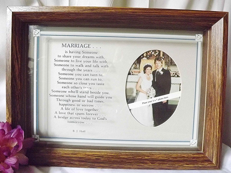 Wedding Frame With Poem Shadow Box Wedding Keepsake Wedding Gift Engagement Gift Anniversary Gift Religious Wedding Photo Marriage Poem