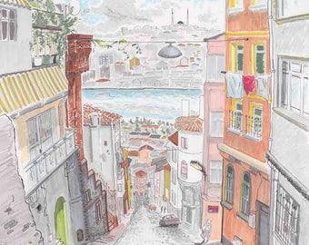 Sketch (12x18): Sancaktar Yakusa, Balat, Istanbul